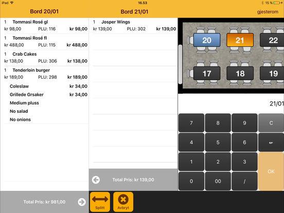 Gastrofix iPad kassasystem for restauranter